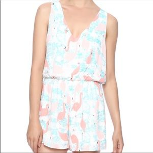 Anthropologie Everly Flamingo Romper